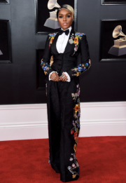 Janelle Monae in Dolce & Gabbana and Christian Louboutin shoes