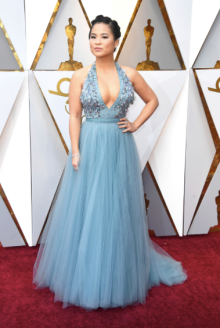Kelly Marie Tran in Jenny Packham, Chopard jewelry and Brian Atwood shoes