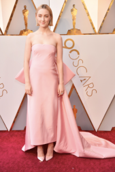 Saoirse Ronan in Calvin Klein by Appointment, Cartier jewelry and Christian Louboutin shoes