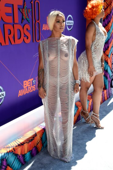 LOS ANGELES, CA - JUNE 24: (EDITORS NOTE: Image contains nudity.) Alexis Skyy attends the 2018 BET Awards at Microsoft Theater on June 24, 2018 in Los Angeles, California. (Photo by Kevin Mazur/Getty Images for BET)