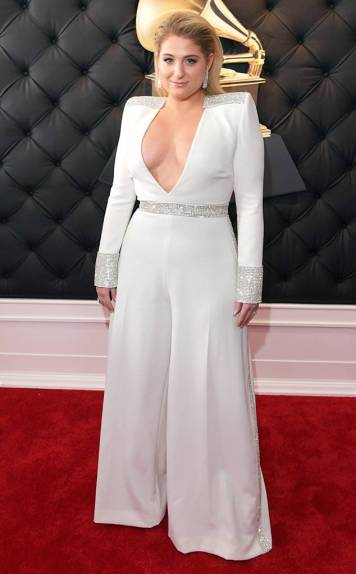 MEGHAN TRAINOR In Custom Christian Siriano and Forevermark Jewelry